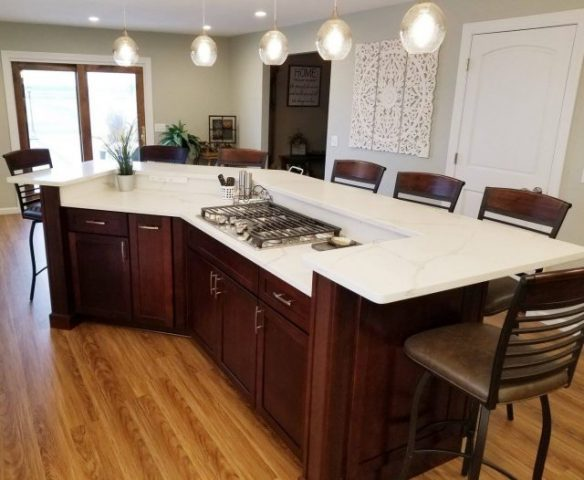 Full kitchen Remodel - Dark Stain Cabinets/white countertop #1