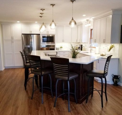 Full kitchen Remodel - Dark Stain Cabinets/white countertop #2