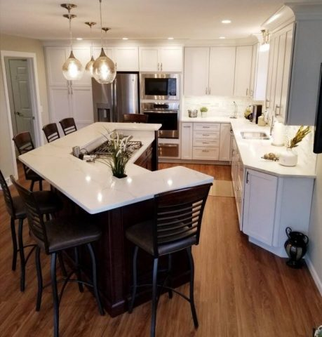 Full kitchen Remodel - Dark Stain Cabinets/white countertop #3
